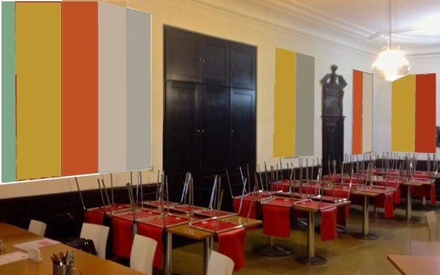 Entwurf der Wandelemente ( übermaltes Foto) im Speisesaal Sta. Christiana in Rodaun