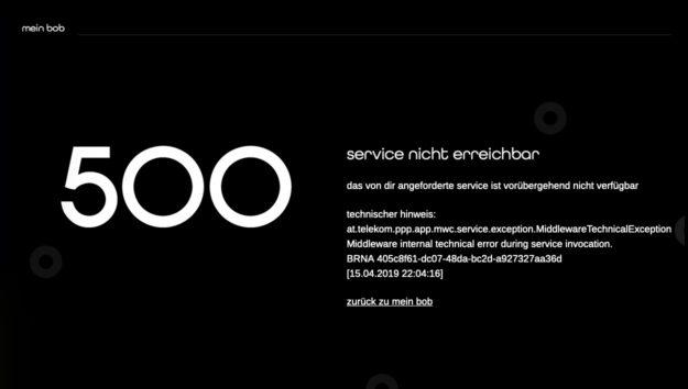 500er Fehler auf der Bob.at Website